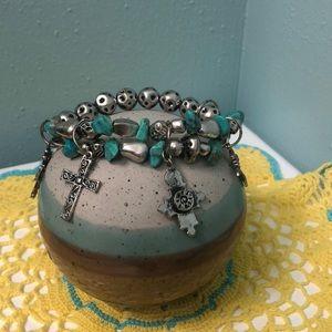 2/$15 SALE Turquoise & silver cross charm bracelet